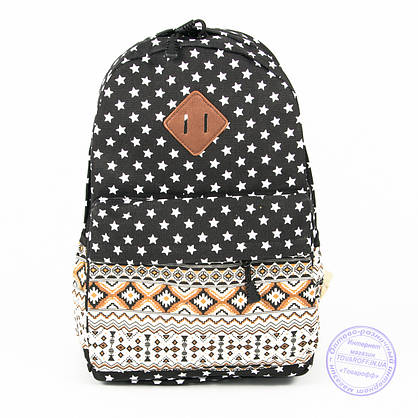 Рюкзак для дівчаток шкільний/міський зірочки - чорний - 6501, фото 2