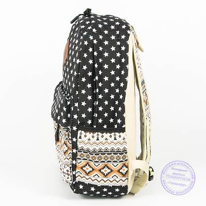 Рюкзак для дівчаток шкільний/міський зірочки - чорний - 6501, фото 3