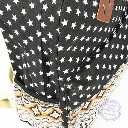 Рюкзак для девочек школьный/городской звездочки - черный - 6501, фото 3