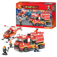 Конструктор SLUBAN M38-B0222 (16шт) Пожарные спасатели,машина,вертолет,409дет,в кор-ке,42,5-28,5-7см