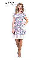 Нарядное женское платье в цветочный принт с плиссированой рюшей