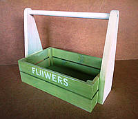 Ящик деревянный с ручкой под цветы, салатовый с белым, 32,5х18х27 см, фото 1