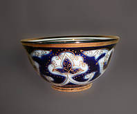 Узбекская национальная посуда Пахта-золотая. Пиалка, диаметр 9 - 10см.