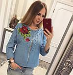 Женский модный джинсовый жакет с бусинками , фото 2