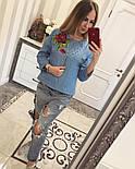 Женский модный джинсовый жакет с бусинками , фото 3