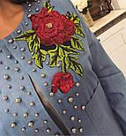 Женский модный джинсовый жакет с бусинками , фото 5