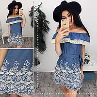 d56625a897f Стильное джинсовое платье с кружевом АМС-006.153