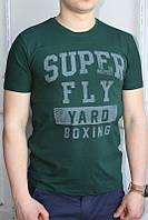 Темно-зеленый Мужская Футболка Турция молодёжная приталенная SUPER FLY