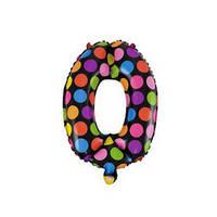 """Фольгированные воздушные шары полька горох многоцветные, цифра """"0"""", размер 16 дюймов/40 см, качество ОЧЕНЬ хор"""