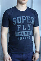 Темно-синий Мужская Футболка Турция молодёжная приталенная SUPER FLY