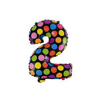 """Фольгированные воздушные шары полька горох многоцветные, цифра """"2"""", размер 16 дюймов/40 см, качество ОЧЕНЬ хор"""