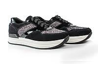 Женские черные кроссовки из натуральной замши, кожи с вставками из глиттера