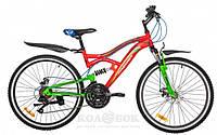 """Подростковый велосипед Premier Apache 24 Disc 15 """" Велосипед Premier Apache 24 Disc 15 """" красный с зелен.-голуб.-бел."""