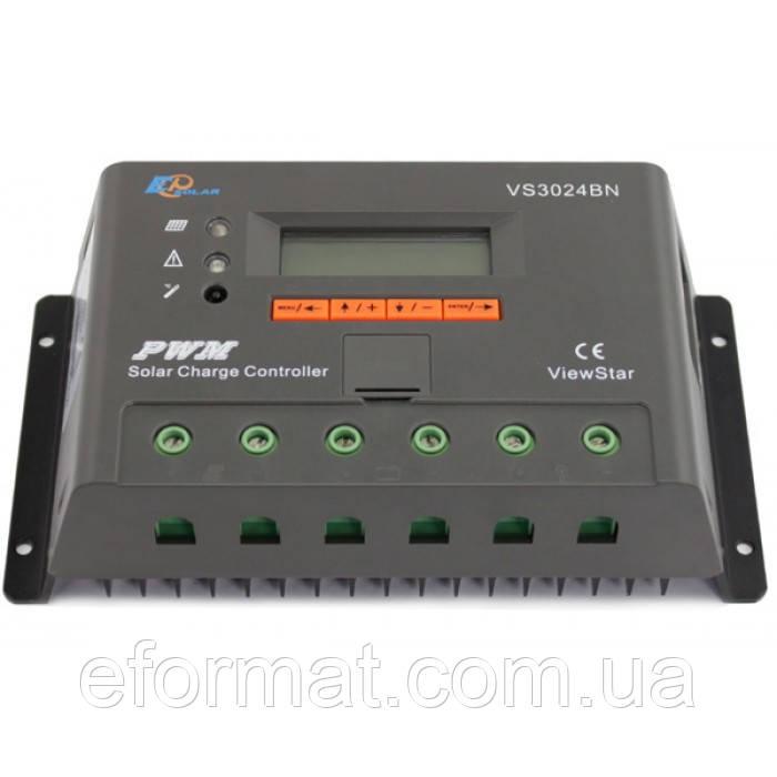 Фотоэлектрический контроллер заряда EPsolar VS3024BN, ШИМ 30А 12/24В  с дисплеем