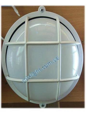 Светильник ЖКХ круглый с матовым пластиковым рассеивателем и решеткой, фото 2