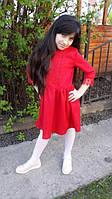 Нарядное красное  платье для девочки  украшенное кружевом