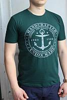 Темно-зеленая Мужская Футболка Турция молодёжная приталенная Якорь
