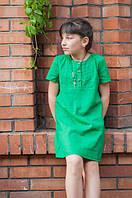 Модное летнее  платье для девочки с льна