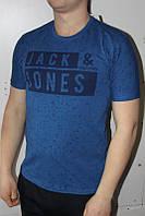 Синяя Мужская Футболка Турция молодёжная приталенная JACK JONES