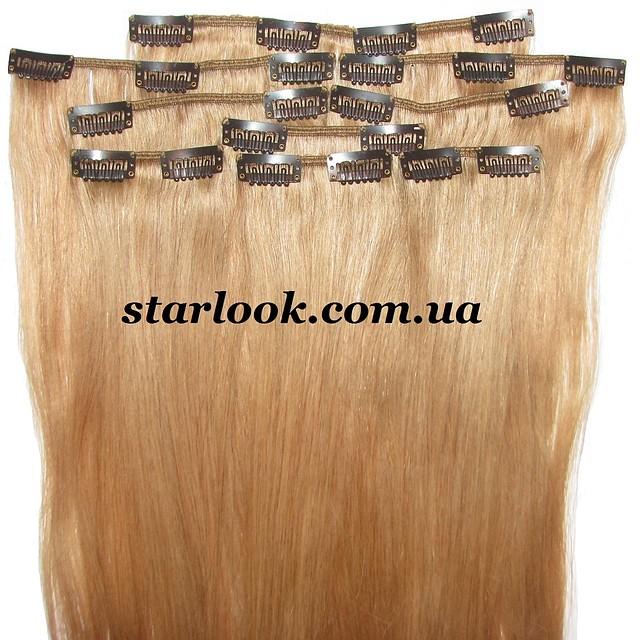 Набор натуральных волос на клипсах 52 см. Оттенок №19. Масса: 130 грамм.