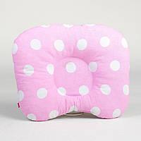 """Ортопедическая подушка от кривошеи """"Белые горохи на розовом фоне"""""""