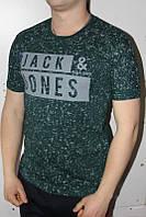 Темно-зеленая Мужская Футболка Турция молодёжная приталенная JACK JONES