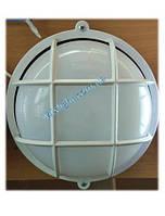 Светильник ЖКХ круглый с матовым пластиковым рассеивателем и решеткой