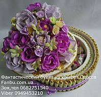 """Торт из конфет""""Воздушные цветы"""" 2-х ярусный со шкатулкой, фото 1"""