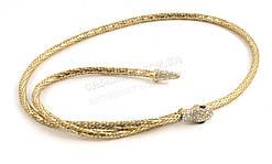 Стильный тонкий декоративный ремешок плетеный с метала золотистого цвета (100265)
