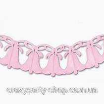 Гирлянда Колокольчики с бантом розовая