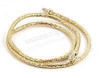 Стильный тонкий декоративный ремешок плетеный с метала золотистого цвета (100266)