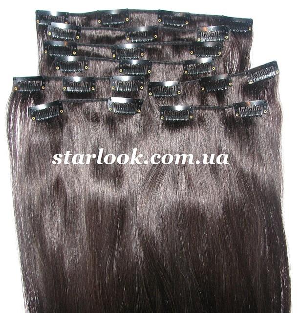 Набор натуральных волос на клипсах 50 см оттенок №1b 100 грамм