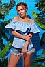 Летняя коттоновая блуза с воздушным воланом и открытыми плечами голубая