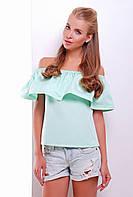 Летняя коттоновая блуза с воздушным воланом и открытыми плечами мята