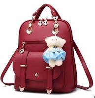 Рюкзак сумка трансформер 2 в 1 женская брелок Мишка PU кожа красный