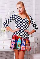 Короткое летнее платье с юбкой в складку Город Мия-1 д/р