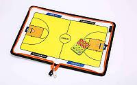 Доска тактическая баскетбольная 5935: 42x28,5см, планшет на молнии + фишки + маркер