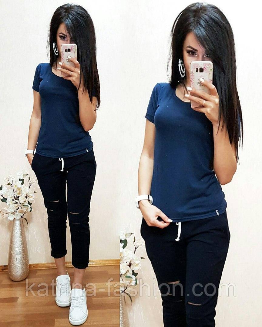 Женский стильный летний костюм: футболка и брюки /капри (2 цвета)