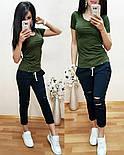 Женский стильный летний костюм: футболка и брюки /капри (2 цвета), фото 3