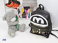 Рюкзак с мордочкой и пайетками черный