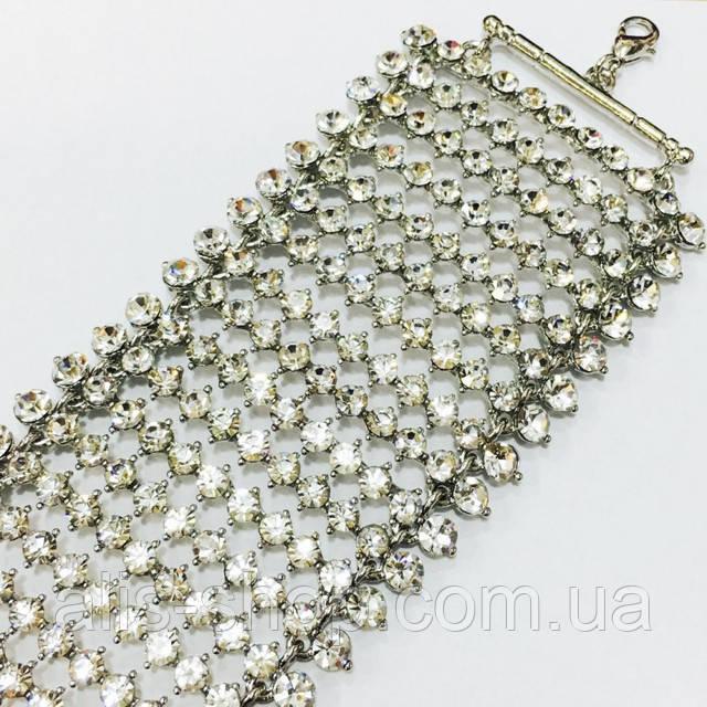 Шикарный широкий браслет в серебре с фианитами