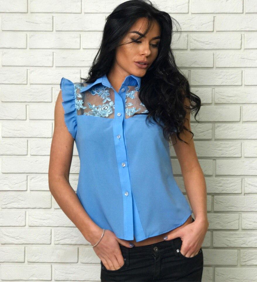 Блузка голубая женская купить