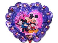 Воздушный фольгированный шар Микки и Мини Маус на палочке