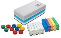 Стартовый набор для меловых досок:губка для стирания, магниты 10 шт. (ассорти), 2 комплекта мела - цветной (10