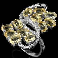 Серебряное кольцо  с натуральными цитринами