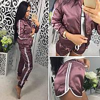 Женский красивый костюм-тройка: мастерка, брюки и шорты (11 цветов), фото 1
