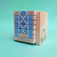 Игрушка-фокус из натурального дерева ЯкТак (JakTak)Вышиванка Голубая