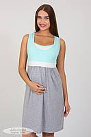 Нічна сорочка для вагітних і годування Sela NW-1.8.4, сірий меланж з ментолом, фото 1