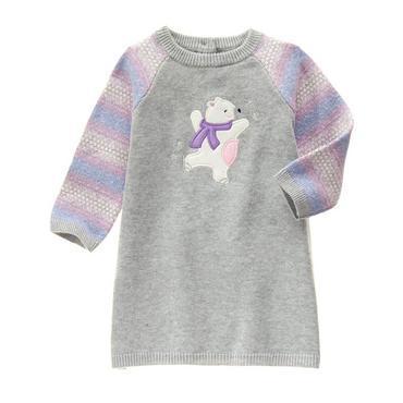 Платье трикотажное вязаное с длинным рукавом для девочки 12-18, 18-24 мес. Bear Sweater Dress Gymboree (США)