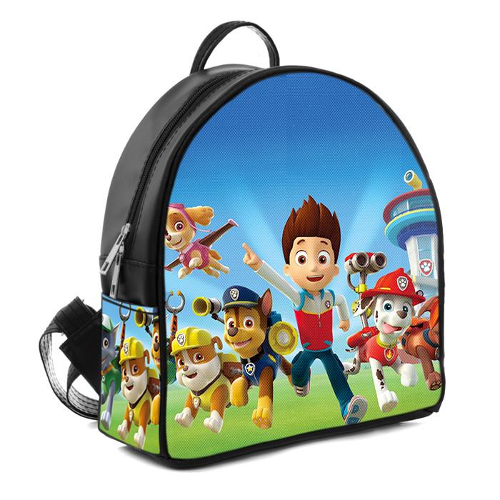 Черный детский городской рюкзак с принтом Щенячий патруль